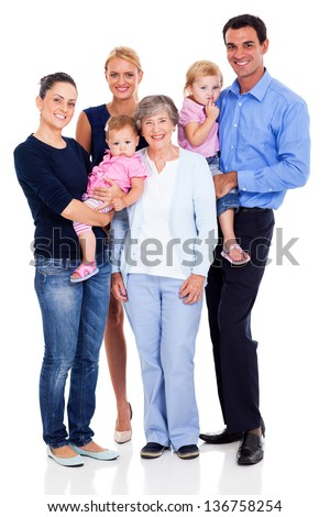 portrait of happy extended family isolated on white background - stock photo