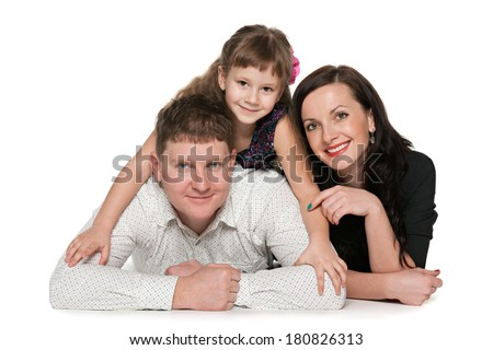 Portrait of happy family against the white background