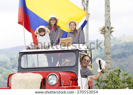 Portrait of Happy Family, Father, Mother And Their Children Having Fun Outdoors