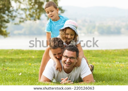 Portrait of happy family making a human pyramid in the meadow.