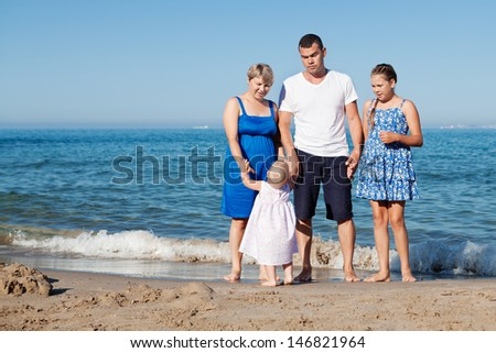 Portrait of happy family, outdoor