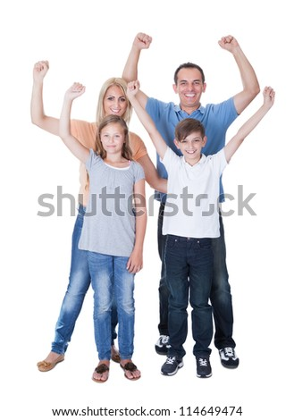 Portrait Of Happy Family With Two Children Isolated On White Background - stock photo