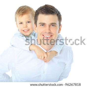 Portrait of happy father and son. Isolated on white