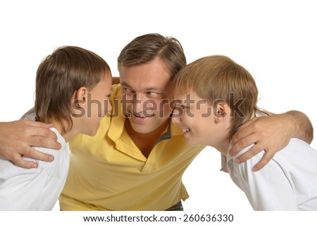 Portrait of happy father and sons. Isolated on white - stock photo