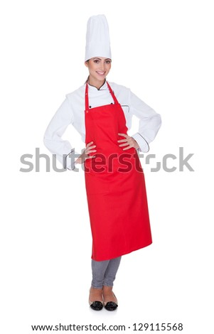 Portrait Of Happy Female Chef. Isolated On White - stock photo