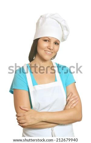 Portrait of happy female chef isolated on white background. - stock photo