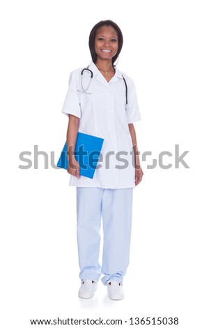 Portrait Of Happy Female Doctor Isolated Over White Background