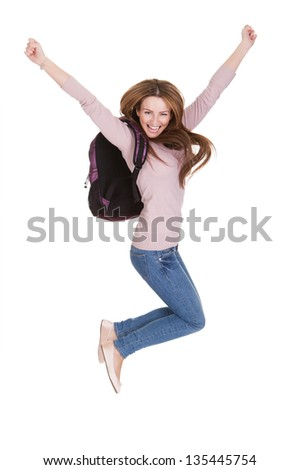 Portrait Of Happy Female Student Isolated Over White Background - stock photo
