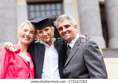 College Graduate With Parents Stock Images Royalty Free