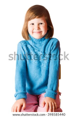 Portrait of Happy five years girl sitting isolated on white - stock photo