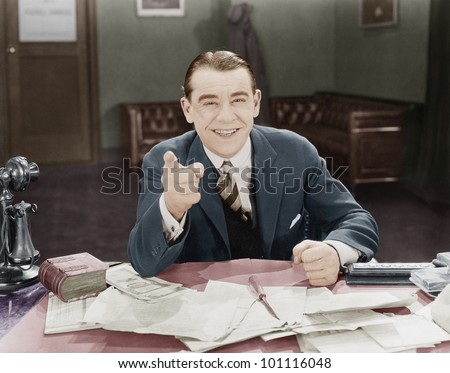 Portrait of happy friendly businessman - stock photo
