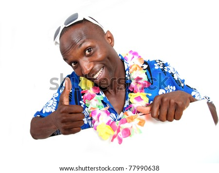 Portrait of happy funny guy with hawaiian shirt - stock photo