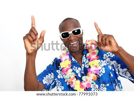 Portrait of happy funny guy with Hawaiian shirt