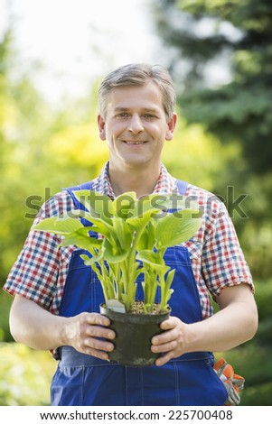 Portrait of happy gardener holding potted plant at nursery - stock photo