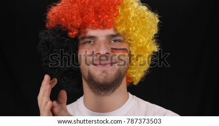 Portrait of Happy German Supporter Man Smiling and Looking Camera, Germany Sport Team Fan