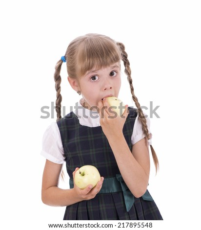Portrait of happy girl with apple isolated on white background - stock photo