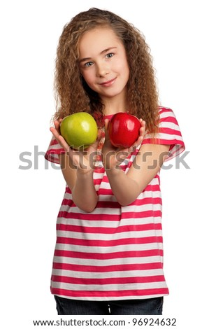 Portrait of happy girl with apples isolated on white background