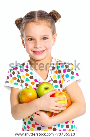 Portrait of happy girl with apples isolated on white background - stock photo