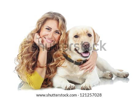Portrait of happy girl with her dog isolated on white background - stock photo