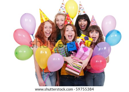 portrait of happy girls with boxes and balloons - stock photo