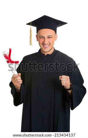 Portrait of happy graduate student. Isolated on white