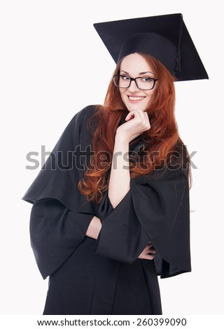 Portrait of happy graduate young woman in glasses. - stock photo