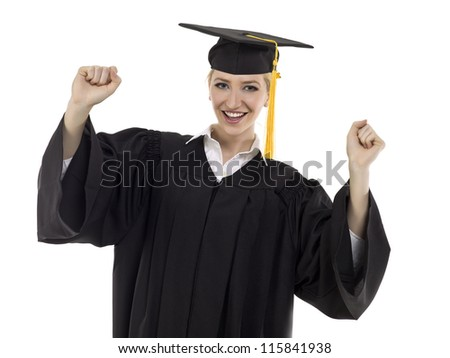 Portrait of happy graduated female student against white background