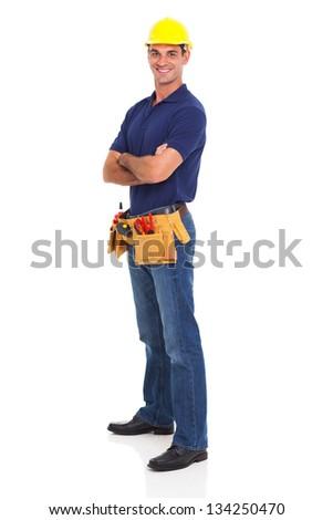 portrait of happy handyman isolated on white background - stock photo