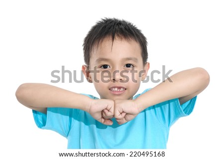 Portrait of happy joyful beautiful little boy isolated - stock photo