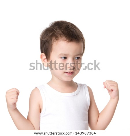 Portrait of happy joyful beautiful little boy isolated on white background