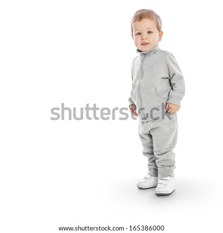 Portrait of happy joyful beautiful little boy with clipping path - stock photo