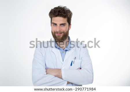 portrait of happy junior doctor isolated on white background - stock photo