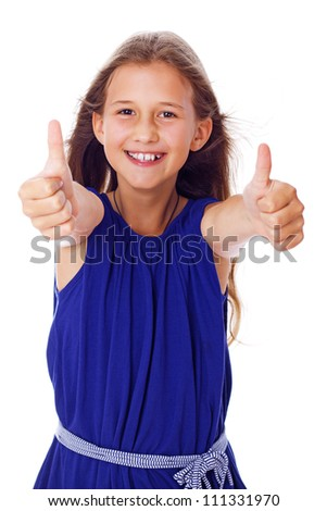 Portrait of happy kid posing in studio - stock photo