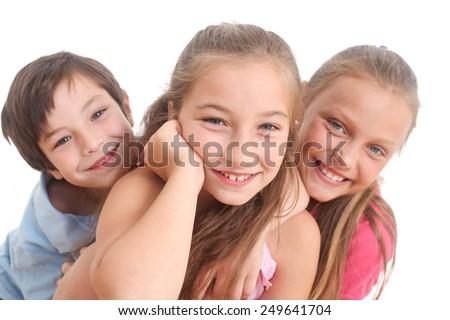 portrait of happy kids on white background - stock photo