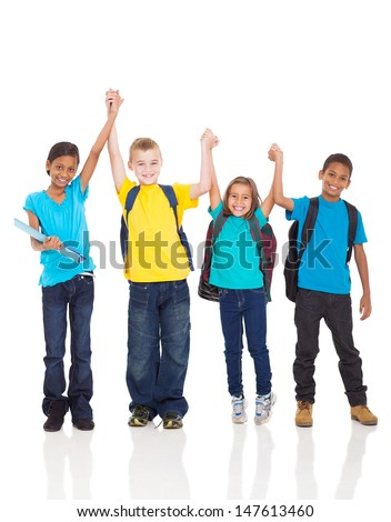 portrait of happy kids with hands up isolated on white - stock photo