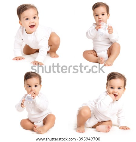 Portrait of happy laughing baby in white bodysuit. Portrait of sitting down small child Isolated on white. baby, child, kid - stock photo