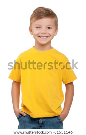Portrait of happy little boy over white background