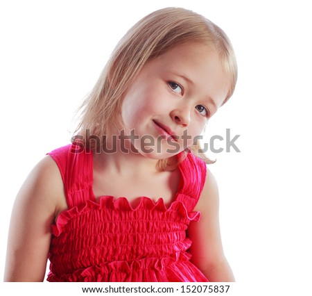 Portrait of happy little girl over white background