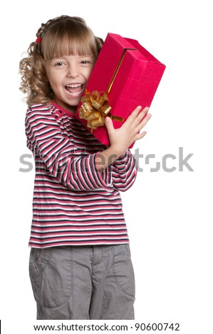 Portrait of happy little girl with gift box over white background - stock photo