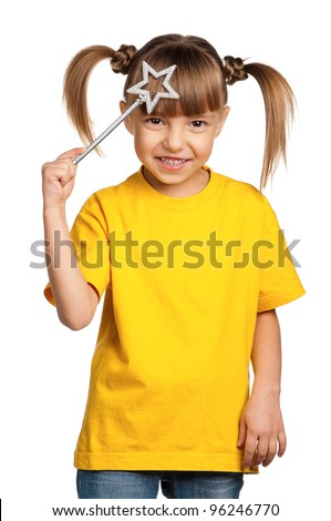 Portrait of happy little girl with magic wand isolated on white background - stock photo