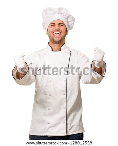 Portrait Of Happy Male Chef Isolated On White Background - stock photo