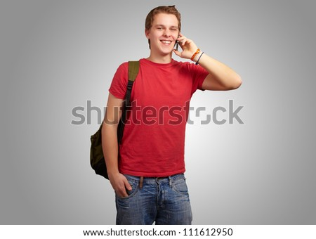 Portrait Of Happy Man Isolated On Gray Background - stock photo