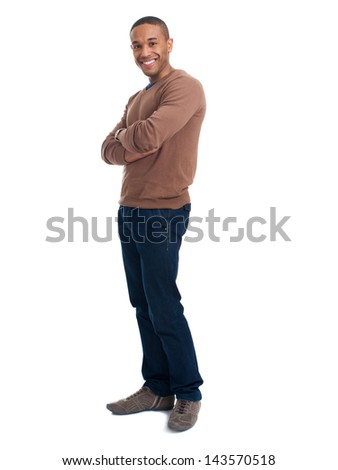Portrait Of Happy Man On White Background - stock photo