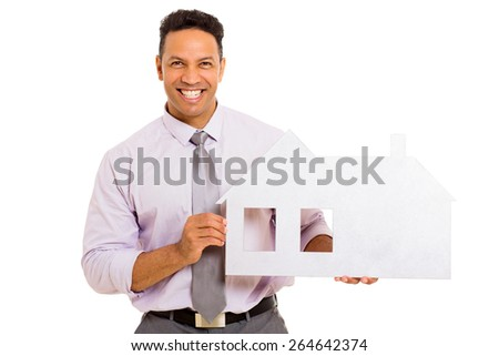 portrait of happy man showing house symbol on white background - stock photo