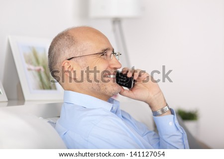 Portrait of happy man talking at the telephone in the living room - stock photo