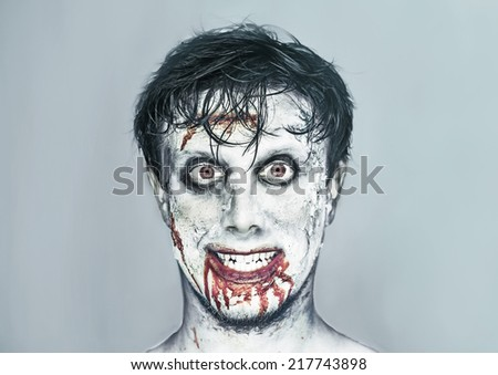 portrait of happy man with zombie face art halloween or horror theme - Zombie Halloween Faces