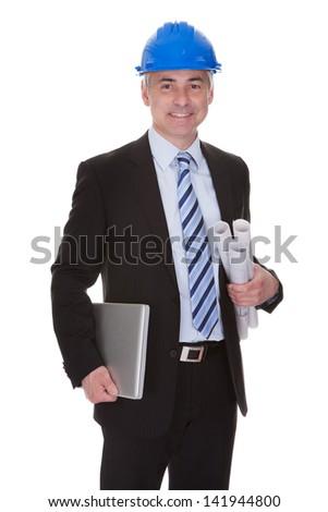 Portrait Of Happy Mature Architect Isolated Over White Background - stock photo