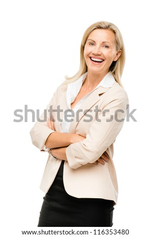 Portrait of happy Mature business woman middle aged woman smiling isolated on white background - stock photo