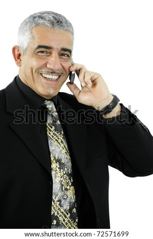 Portrait of happy mature businessman talking on mobile phone, smiling. Isolated on white.?