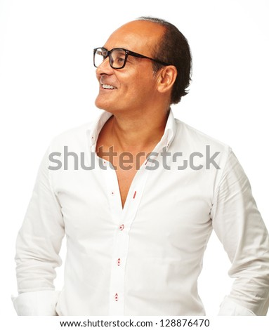Portrait Of Happy Mature Man Isolated On White Background - stock photo